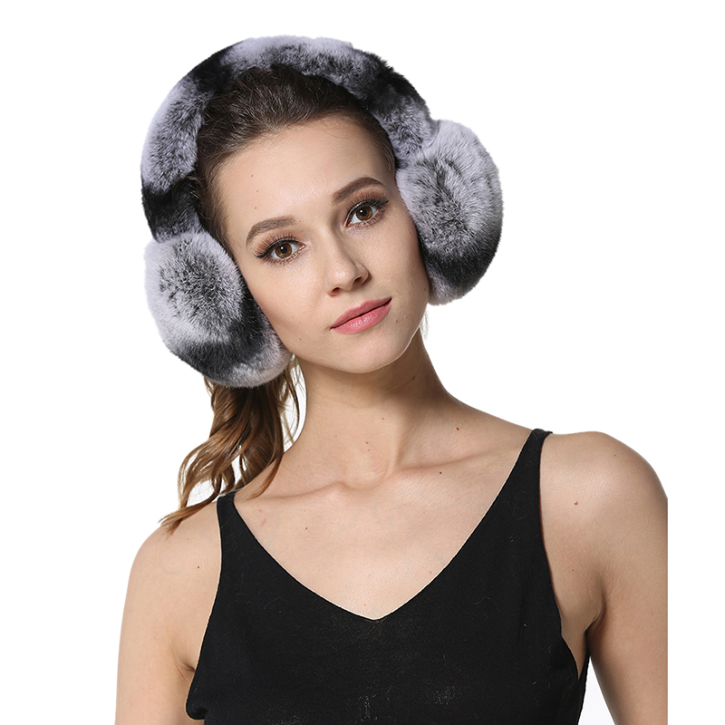 IANLAN Winter Outdoor Womens Real Fur Earmuffs Girls Full-pelt Rex Rabbit Fur Earflaps Ladies Soft Warm Ear Warmers IL00034