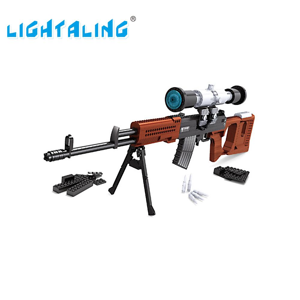 Lightaling Weapon SVD Sniper Gun Building Block SWAT Military Toy Model Construction Kids Toys Gift aim top svd gbb