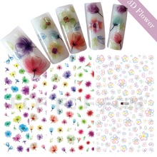 1 Piece 3D Summer Designs Nail Art Slider Sticker Colorful Flower DIY Self Adhesive Decals Nail Glitter Decor Tips TRF019-028