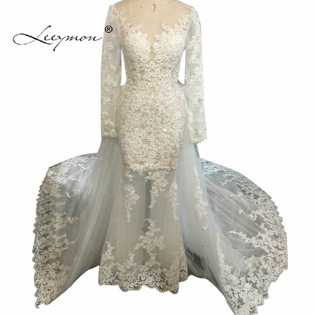 Leeymon Sexy Mermaid Long Sleeves Lace Wedding Dress 2019 Plus Size Luxury  Crystal Wedding Gown Vestido de novias C37 bb1b7d44fafa