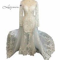 Leeymon Sexy Mermaid Long Sleeves Lace Wedding Dress 2017 Plus Size Luxury Crystal Wedding Gown Vestido de novias C37