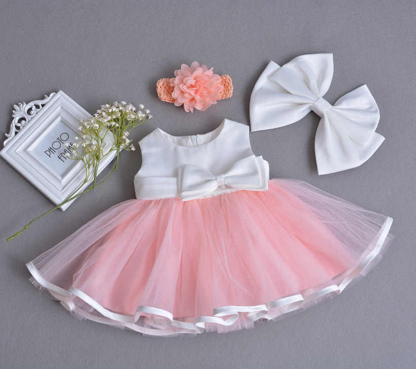 937133c5a9ce ... 1 Year Old Birthday Baby Girl Dresses Jacket Pink Bow Party Wear  Vestido 2018 Toddler Baby ...