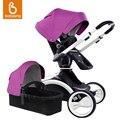 Babysing moldura branca de luxo carrinho de bebê com alcofa 2 em 1 carrinho de bebê de alta-paisagem 360 graus de rotação carrinho de bebê
