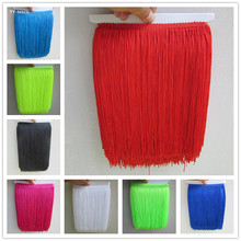 YY-tesco 1Yard 25cm Wide Lace Fringe Trim Tassel Trimming For Latin Dress Stage Clothes Accessories Ribbon