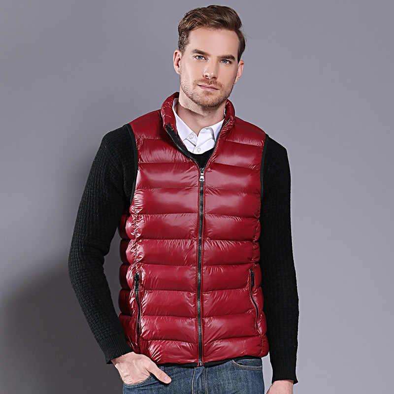 M-5XL Стенд воротник Для мужчин жилеты зима Куртки без рукавов Для мужчин пальто Однотонная повседневная обувь жилет мужской жилет chalecos para hombre