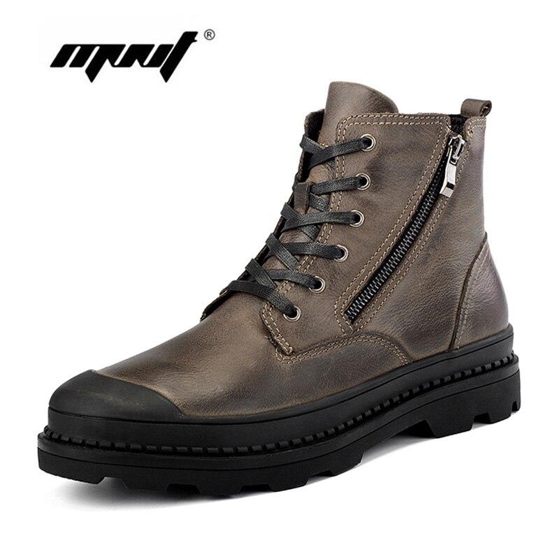 Hommes Bottes Véritable D'hiver En Cuir Bottes Chaussures Hommes, En Peluche De Fourrure Chaud Sonw Bottes, Mode Cheville Automne Et D'hiver chaussures Hommes