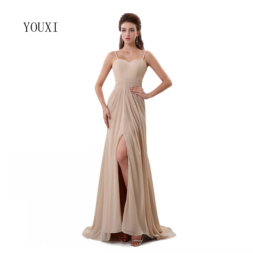 Sexy Spaghetti Strap Champagne   Prom     Dresses   2019 New Arrivals High Quality Chiffon Formal Evening Party Gowns