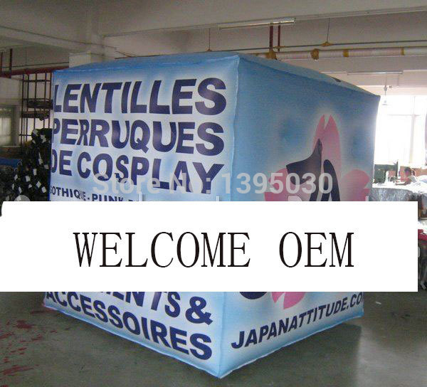 Inflatable Cube Helium Advertising Balloon with 6 Sides Digital Printing Logo for Advertisement