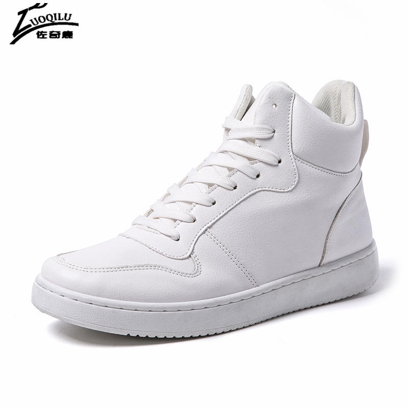 New Men Casual Shoes High Top Men Shoes Flats Male White PU Leather Shoes Man Trainers Zapatillas Hombre 2017 leather casual shoes zapatillas hombre casual sapatos business shoes oxford flats hand made man shoe free shipping sv comfort