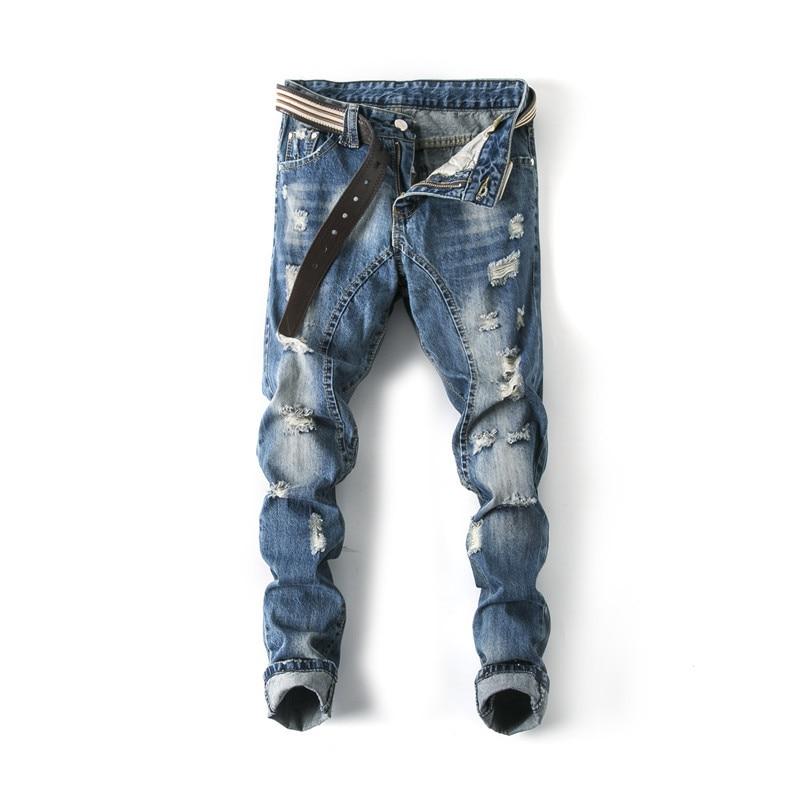 Mens Holes Jeans Light Blue Denim Jeans New Spring Men Straight Casual Long Jeans Men Slim Cowboy Trousers Size 40