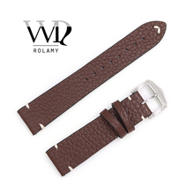 Rolamy 20 22 24mm Wholesale Genuine Cowhide Smooth Vintage Leather Black Brown Blue Red Watch Band Strap With Polish Buckle