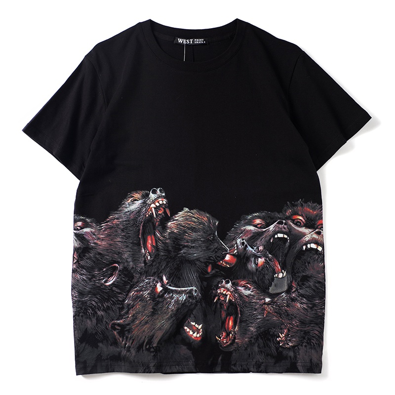men's Cotton casual letter printing T shirt top animal fashion short sleeved men's crew T shirt men's Tshirt wolfs male's Tees