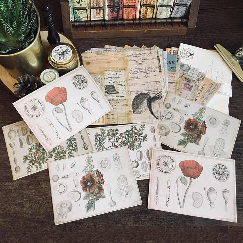 18pcs Vintage Plants And Flowers Old English Word Background Decoration Stationery Sticker Diy Diary Scrapbooking Label Sticker