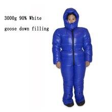 90% ganso branco para baixo enchimento 3000g ambiente frio usar para baixo terno saco de dormir personalizado inverno para baixo jaqueta