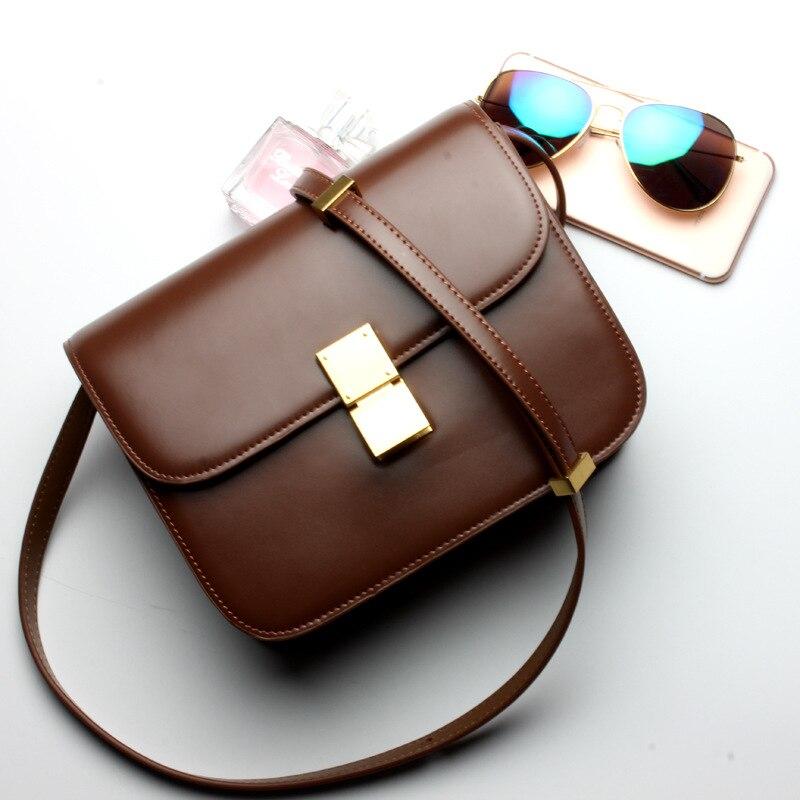 ФОТО Women Classic Box Bag Fashion Stewardess bag High Quality Women's Metal buckle Messenger Bag Women's Vintage Cowhide bag