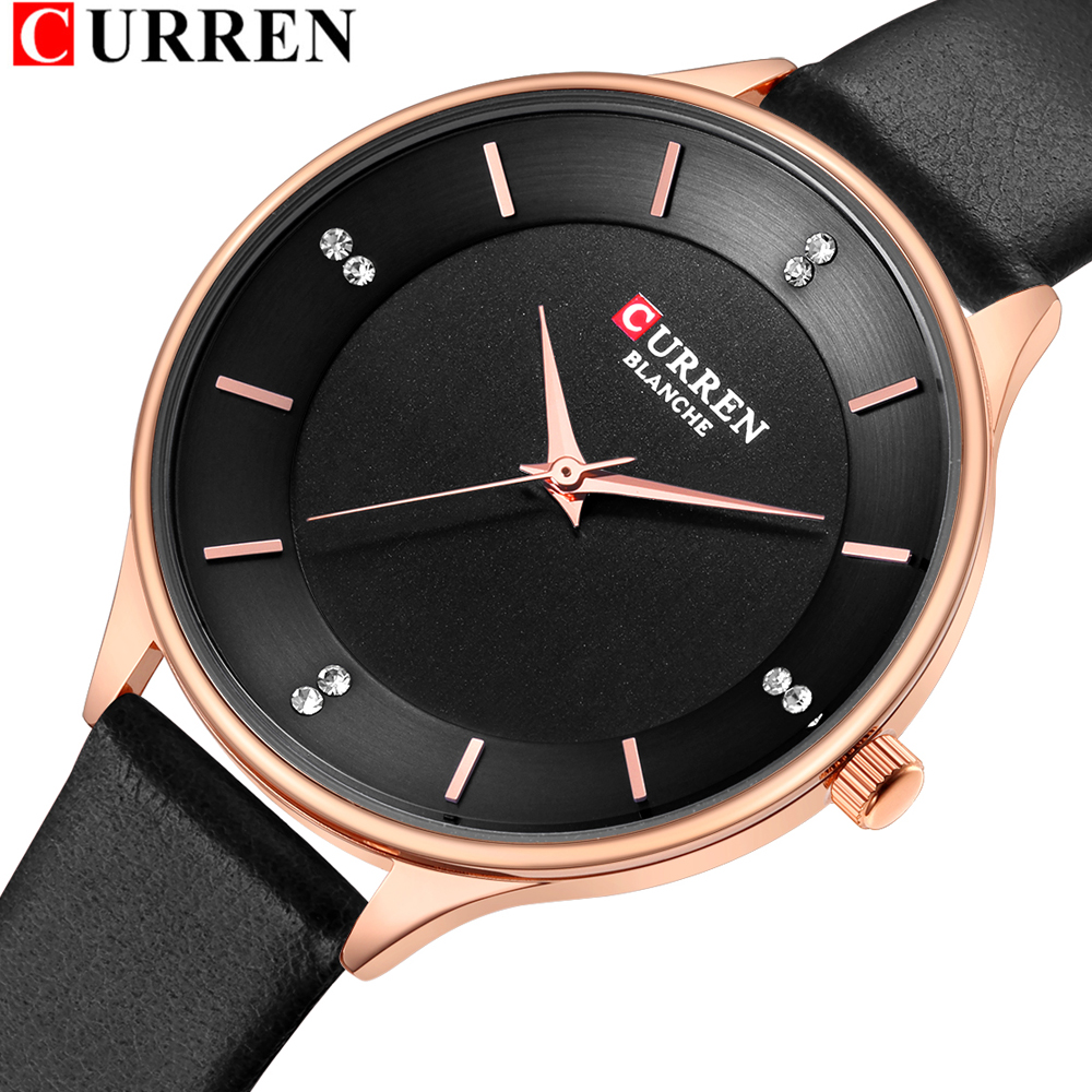 CURREN Brand Watch Women Fashion Leather Quatz Wristwatch For Womens Girls Diamond Dial 30M Waterproof Female Clock Bayan Saat