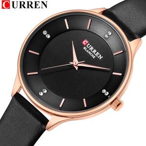 Image 1 - CURREN Brand Watch Women Fashion Leather Quatz Wristwatch For Womens Girls Diamond Dial 30M Waterproof Female Clock bayan saat