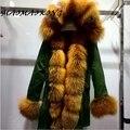 2017 NEW Russian Winter Coats 100% Real Rex Rabbit Fur Parka With Large Fox Fur Hood Winter Parka Women Jacket