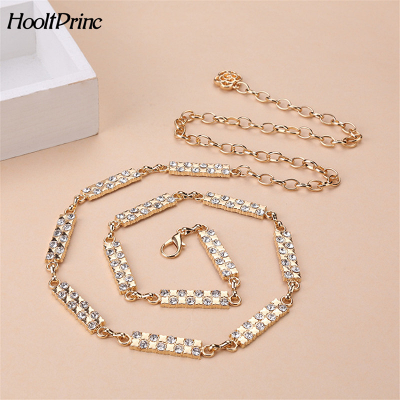 Fashion Women Metal Chain Belt Rhinestone Lobster Clasp Thin Waist belts  Waistband Female Skirt Dress Accessories 20d3d9d92ef6