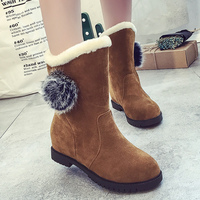 High Top Female Boots 2017 Trendy Pompon Plush Velvet Shoes Mid Calf Boots Women Fashion Solid