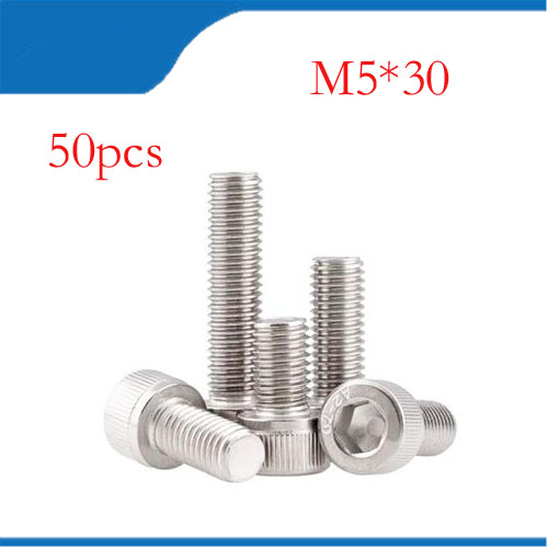 M5 screws m5 bolt 50pcs/Lot Metric Thread DIN912 M5x30 mm M5*30 mm 304 Stainless Steel Hex Socket Head Cap Screw Bolts 50pcs lots carbon steel screws black m2 bolts hex socket pan head cap machine screws wood box screws allen bolts m2x8mm