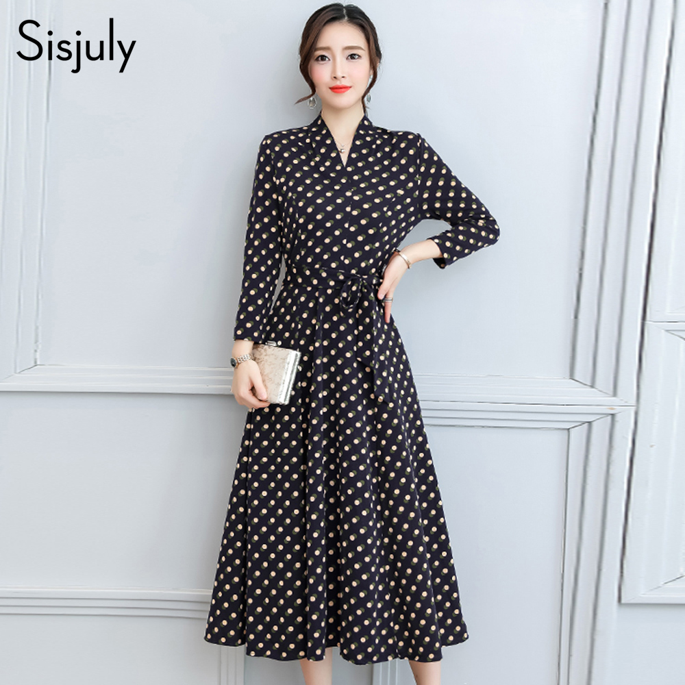 b928eac5d2a Sisjuly Autumn Midi Dress Women 2018 New Fall Polka Dots Print Belt Bowknot  Office Lady Elegant Formal Girls Brand Vintage Dress in Pakistan