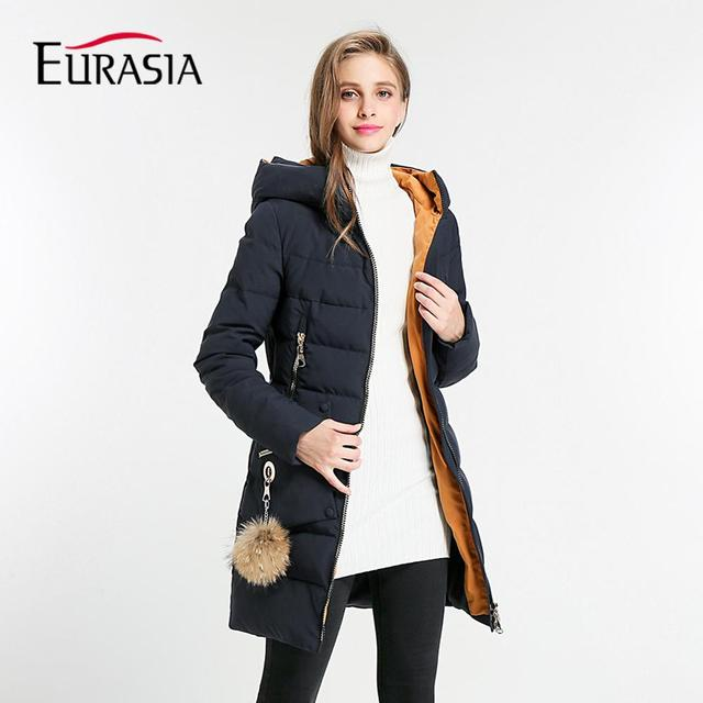 EURASIA 2018 Brands NEW Arrival Full Solid Winter Coat Women Jacket Hooded  Outerwear Lady Thick Clothing Parka Y170008 55229fab9e
