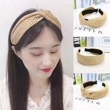 Fashion Style Solid Knotted Handmade Straw HeadbandTurban for Women Girls Hoop Wide Female Hairband Hair Accessories Headwear
