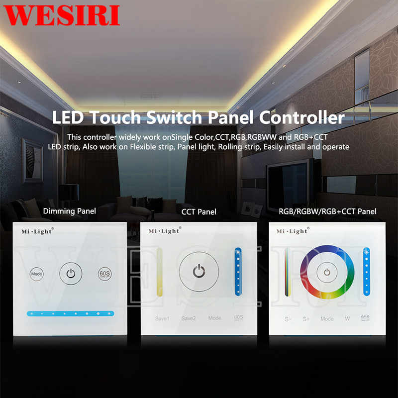 Milight inteligente led painel controlador p1 p2 p3 temperatura de cor dimmer rgb cct wall mounted interruptor toque controlador do painel