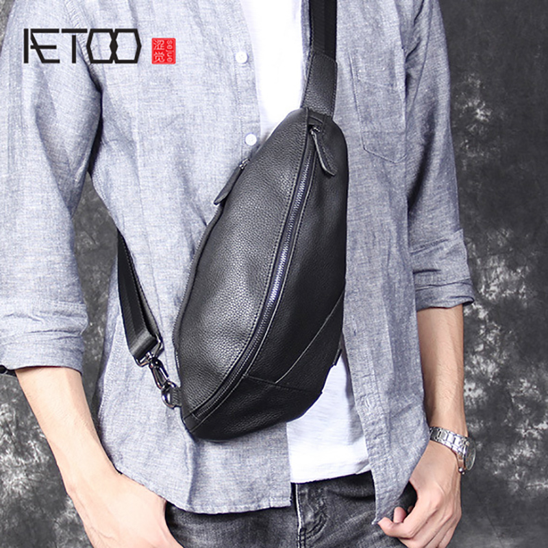 AETOO Personality casual head cowhide chest bag men s leather shoulder slant bag