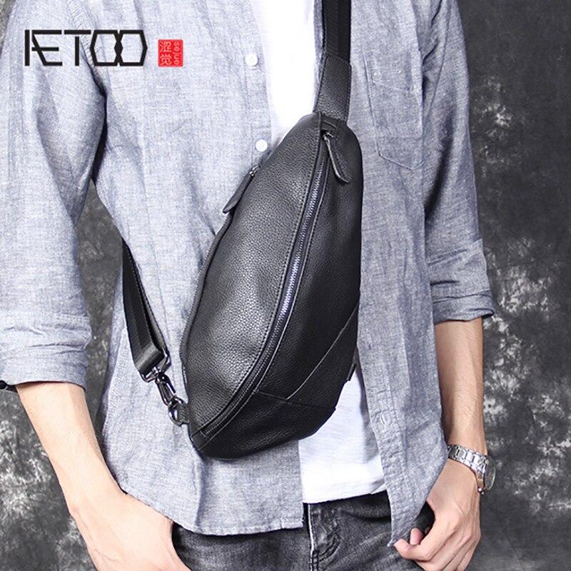 AETOO osobowości dorywczo głowy wołowej torba na klatce piersiowej męska na ramię ze skóry ukośne torba w Saszetki od Bagaże i torby na  Grupa 1