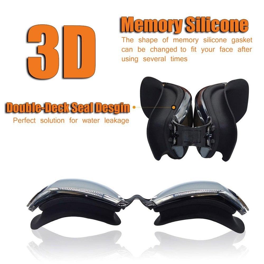 Waterproof Suit HD Anti-Fog 100% UV Adjustable Prescription Swimming Goggles Unisex 4
