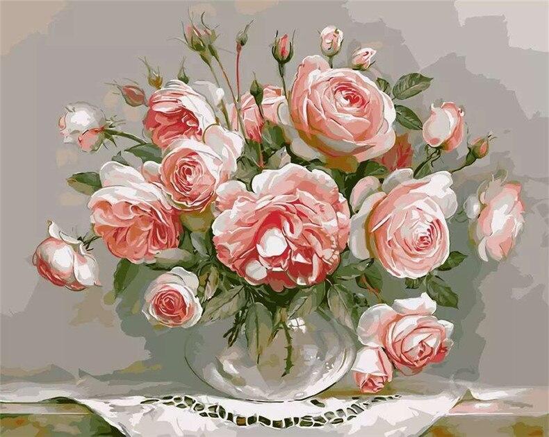 DIY Digitales Ölgemälde Malen nach Zahlen auf Leinwand Knospende Blume Home Deko