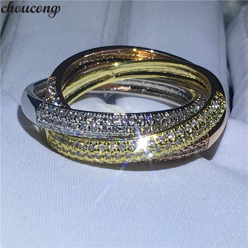 Choucong 3 · イン · 1 指リングセットを設定する 5A ジルコン cz 925 スターリングシルバー婚約ウェディングバンド女性のためのジュエリー
