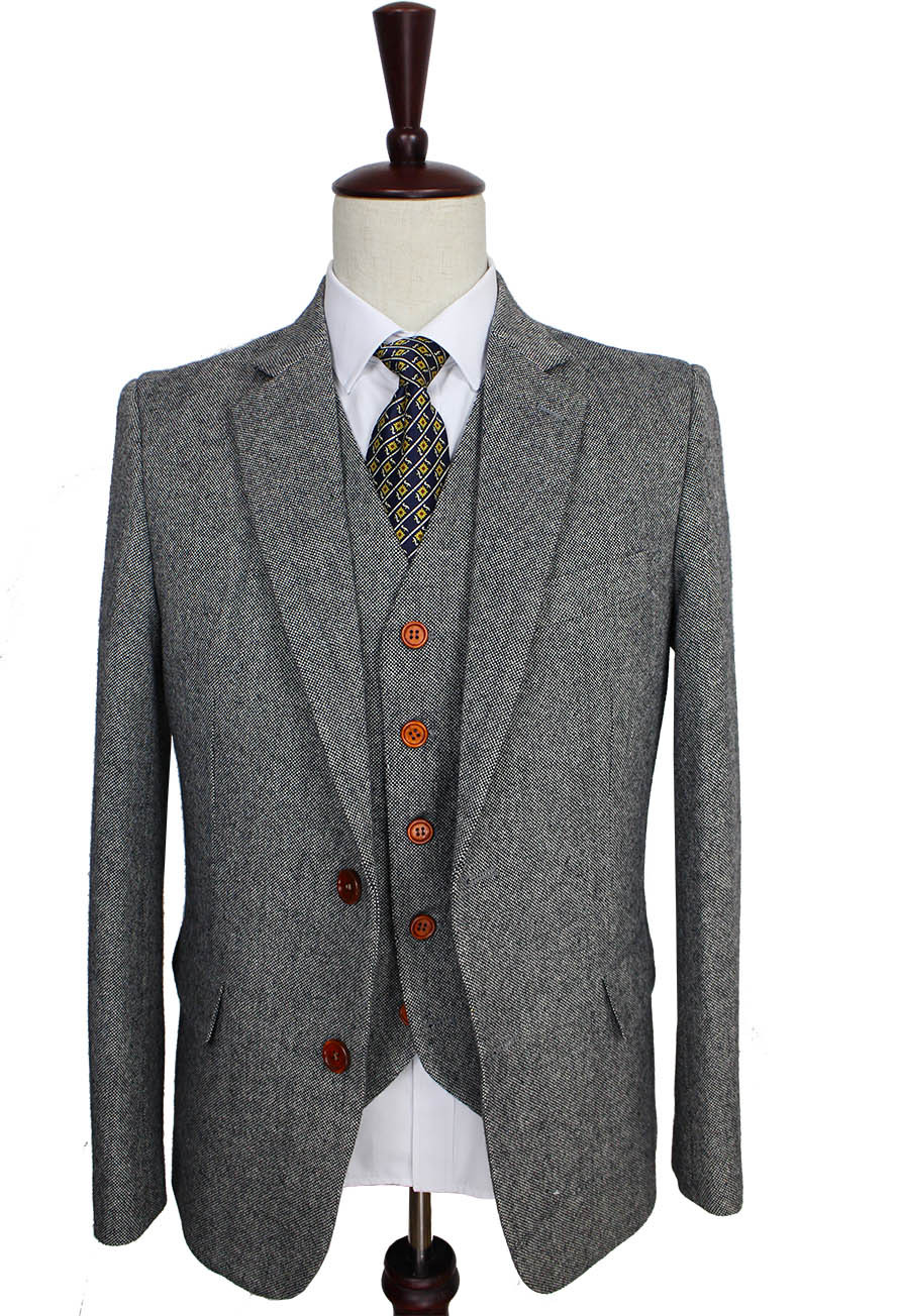 Retro gentleman stijl Grey Classic Tweed tailor wedding suits voor mannen custom made Wol Slim Fit blazer mens 3 stuk pak-in Op maat gemaakte kostuums van Mannenkleding op  Groep 2