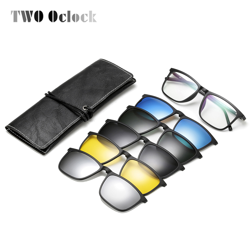 TWO Oclock Polarized Magnet <font><b>Sunglasses</b></font> Men UV400 High Quality <font><b>5</b></font> <font><b>In</b></font> <font><b>1</b></font> Clip On <font><b>Sunglass</b></font> Women Square Diopter Spectacle Frame A8804 image