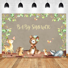 Baby Shower Backdrop Animal Party Background Butterfly Cartoon Deer Small Hedgehog Children Birthday Banner Backdrops