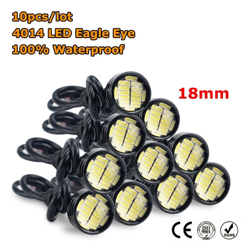 Auxito 10x LED Eagle Eye Light 9W 12V 24V 18MM 23MM Auto Waterproof Lamp Car Fog DRL Daytime Running Reverse Parking Signal Bulb