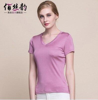 Hk soie rime été 100% mûrier soie mode col en v t-shirts à manches courtes femmes porter des tricots de soie