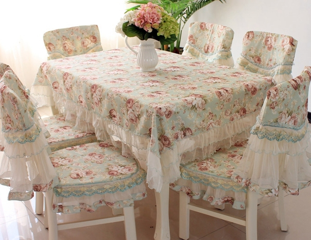 Dining Table Set Lace Cloth Tablecloth Rustic Chair Cover Fabric Cushion