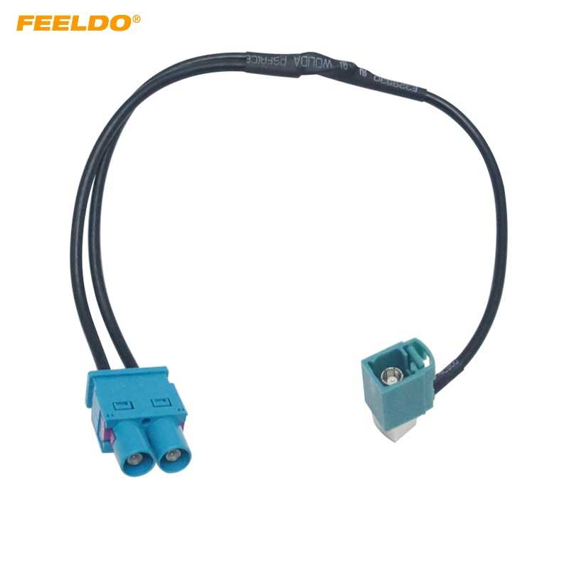 FEELDO Car 1-Way Female To 2-Way Male FAKRA2-Z Radio Antenna Terminals With Amplifier For Volkswagen/Skoda/Audi OEM Head Unit