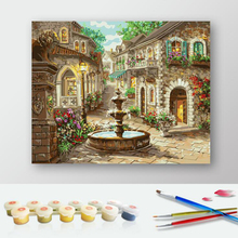 50x65cm  Fountain Landscape DIY Painting By Numbers Hand Painted Oil Painting Home Decor Wall Art Picture For Room Artwork r515