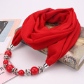 Ahmed Newest Chiffon Coloful Beads Statement Scarf Necklace for Women Fashion Multi-color Pendant Scarves Collar Jewelry