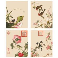 Pintura chinesa de Flores e Pássaros Imprimir Cartazes Da Arte Da Lona do Retrato Da Parede para sala de estar Decoração de Casa Pintura da lona Sem Moldura