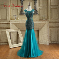 Luxury 2015 Mermaid Prom Dress Scoop Neckline Sheer Tulle Crystals Long Prom Dresses Sexy Backless Evening