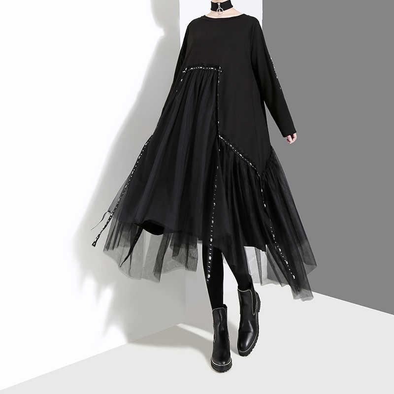 Новинка 2019, корейский стиль, женское осеннее однотонное черное свободное платье, длинный рукав, сетка, наложение, женское повседневное миди платье, женское платье 4564