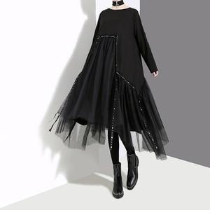 Image 3 - ใหม่Plusขนาด 2020 ผู้หญิงสไตล์เกาหลีฤดูใบไม้ร่วงฤดูหนาวสีดำชุดหลวมแขนยาวซ้อนทับตาข่ายLady Casual Midi Dress robe 4564