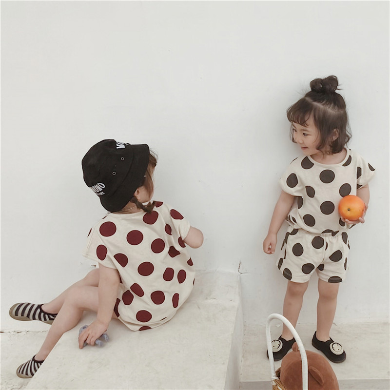Japanese And Korean Style Polka Dot Printed Casual Clothing Sets For Boys And Girls Pure Cotton Short Sleeve T Shirt + Shorts