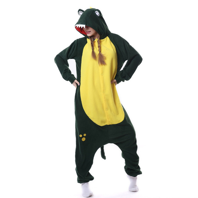 Kigurumi men women Anime Unisex Adult Sleepwear Crocodile Onesies Pajamas Cosplay Costume Halloween Carnival Masquerade Party