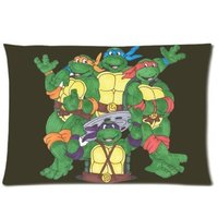 LUQI Zippered Pillow Protector Pillowcase Queen Size 20x30 Inches Teenage Mutant Ninja Turtles Pillow Cover